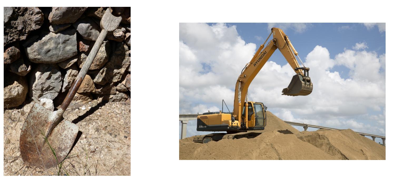 excavator vs shovel