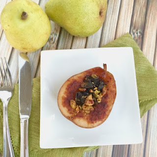 Roasted Pears with Dried Plums and Pistachios.