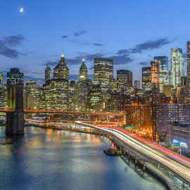 FDR Drive by Razvan Iliescu - City,  Street & Park  Skylines ( brooklyn bridge, moon, skyline, new york skyline, blue hour, manhattan, new york, travel, fdr, usa, city, lights, east river, long exposure, night, new york city, brooklyn, river )