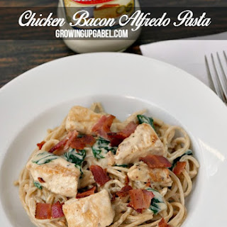 15 Minute Chicken Bacon Alfredo Pasta