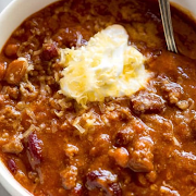 Homemade Chili served with Baguette