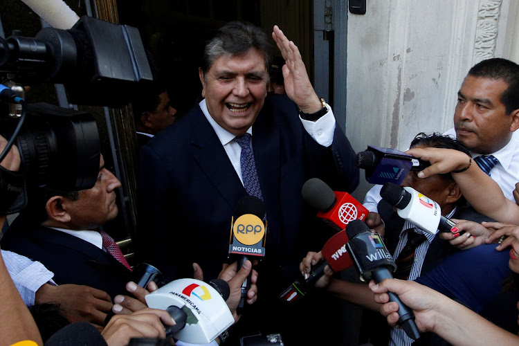 Former president of Peru Alan Garcia arrives at the National Prosecution office to testify in Odebrecht case in Lima, Peru, on February 16 2017.