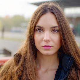 Girl with nut eyes by Jiri Cetkovsky - People Portraits of Women ( race, car, girl, portrait, nut, eyes )