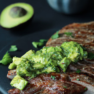 Grilled Flank Steak with Avocado Chimichurri.