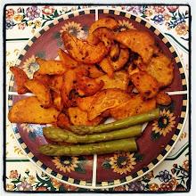 Photo: Baked sweet potatoes and asparagus dish #intercer #veggie #potato #asparagus #food #plate #dish #tasty #yummy #veggies #sweet #green #orange #dinner - via Instagram, http://instagram.com/p/e1SgKtpfgH/