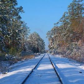 Snow and tracks by Brenda Shoemake - Transportation Railway Tracks (  )