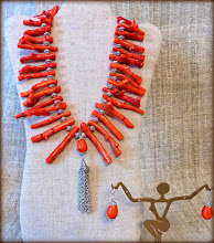 Photo: #191 QUEEN OF CORAL ~ КОРОЛЕВА КОРАЛУ Coral, dyed turquoise & silver plate pendant & earrings, silver plate $160/set
