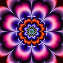 Flower 59 by Cassy 67 - Illustration Abstract & Patterns ( digital, love, harmony, abstract art, trippy, abstract, creative, fractals, digital art, flower, psychedelic, modern, light, fractal, style, energy, fashion )