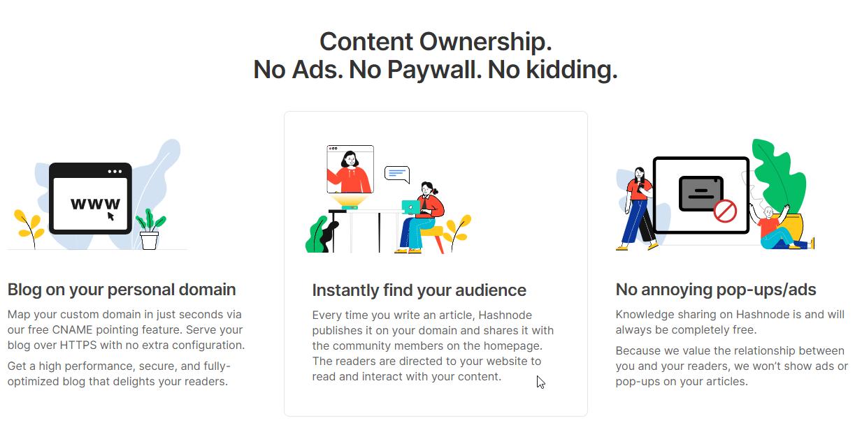 広告やペイウォールはなく、カスタムドメイン利用と同時にトラフィック獲得が可能 画像:
