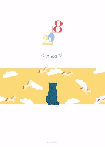 Le Calendrier 2018 - format A3 - illustration - couleur - panthère