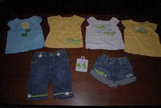 Photo: Gymboree. Shirts are 18-24 months and bottoms are 12-18mo. One pair of gator hair clips with daisies to match. Two shirts in center have VERY small stains, smaller than a pencil eraser. Haven't tried to stain treat them or use a bleach pen on the white shirt (which should work.) $32 plus shipping