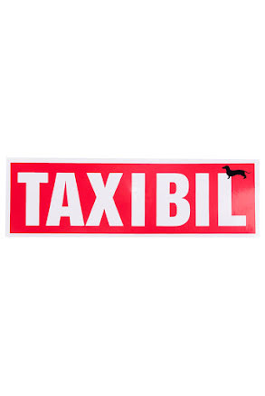 "Skylt ""TAX I BIL"""