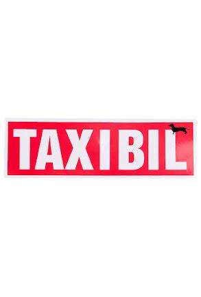 """Skylt """"TAX I BIL"""""""