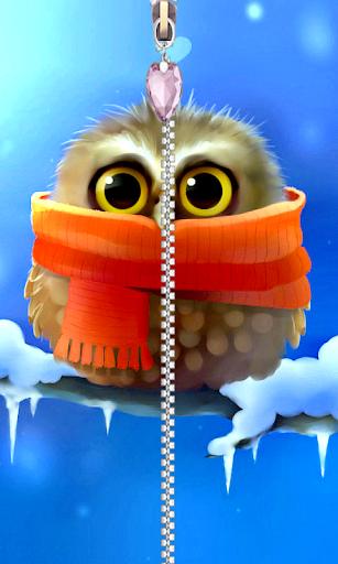 Cute Owl Screen Zipper Lock