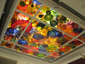 Photo: The finished ceiling -- the center pane of glass is 5' x 5'. The total installation is 8.5' x 8.5'.