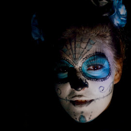 Halloween Face by Lajos E - Public Holidays Halloween ( scary, face, painted, white, paint, young, halloween, girl, blue, shadow, woman, witch, dark, night, evening, painting, , best female portraiture )