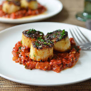 Grilled Scallops with Tomato & Red Pepper Chutney.