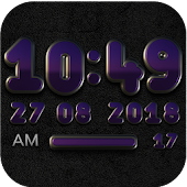 PANDORA Digital Clock Widget black purple / violet