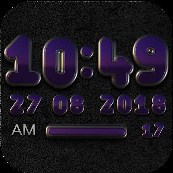 PANDORA Digital Clock Widget black purple / violet