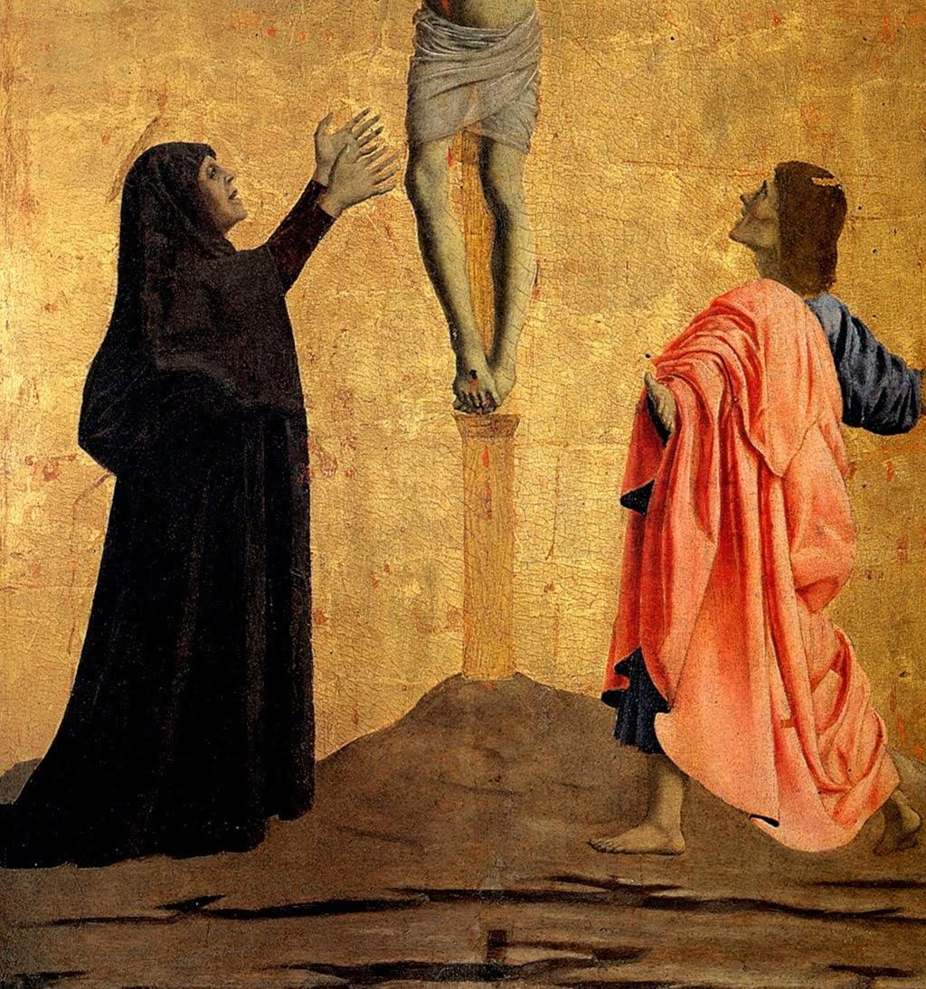 Piero della Francesca, Polittico di Misericordia, Crocifissione, (particolare, i gesti della Vergine Maria e di Giovanni, ai lati della croce), Museo Civico, Sansepolcro