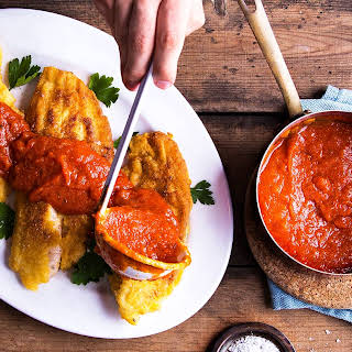 Cornmeal-Crusted Catfish with Tomato Gravy.