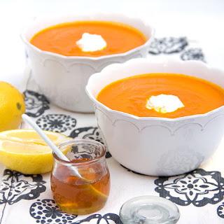 Moroccan carrot soup with Lemon Honey Yogurt.