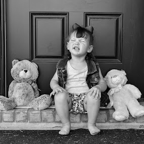 Friends by Jessica Simmons - Black & White Portraits & People ( home, friends, teddy bears, daughter, smiles )