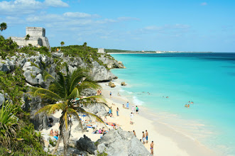 Photo: Beautiful beach in Tulum Mexico, Mayan ruins on top of the cliff.