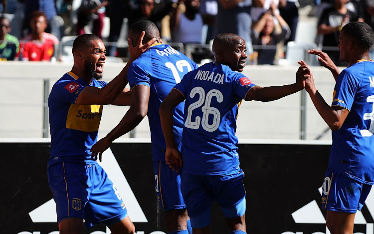 Victor Obinna of Cape Town City celebrates goal with teammates during the Absa Premiership 2017/18 football match between Ajax Cape Town and Cape Town City FC at Cape Town Stadium, Cape Town on 30 September 2017.