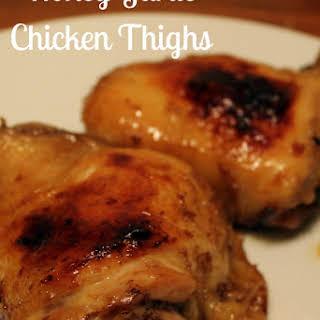 Honey Garlic Baked Chicken Thighs.