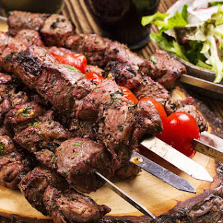 Marinated Greek Lamb Souvlaki recipe (Skewers) with Pita and Tzatziki.