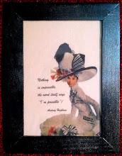 Photo: Stampa su stoffa, cornice in legno dipinta con colorici acrilici Spray.  NON DISPONIBILE