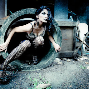 queen of bronx by Budi Purwito - People Portraits of Women ( spike, fashion, model, gothic, ruin, rock, mess, pipe, girl, fishnet, blue, bronx, woman, cement, black, decay )
