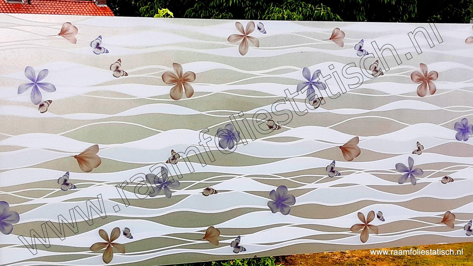 Statische raamfolie lente, bloemen en vlinders 90cmx1,5m