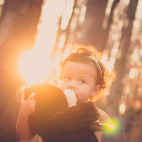 Love by Maria Lucas - Babies & Children Toddlers ( outdoor, childhood, sunset, kisses, teddy bear,  )