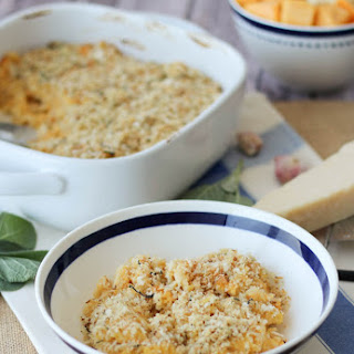 Healthy Butternut Squash Mac and Cheese with Sage and Cauliflower.