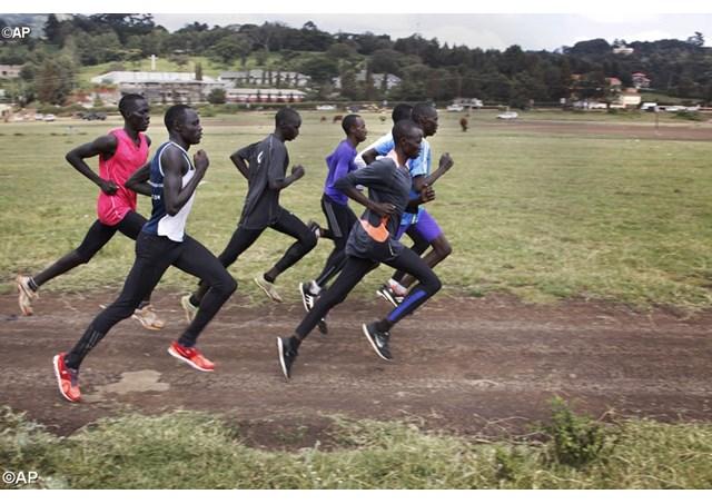 Paulo Amotun Lokoro runs during a training session in Kenya - AP