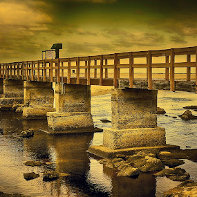 bridge over calm waters by Randall Langenhoven - Buildings & Architecture Bridges & Suspended Structures ( structure, architecture, pwcbridges, design, river )