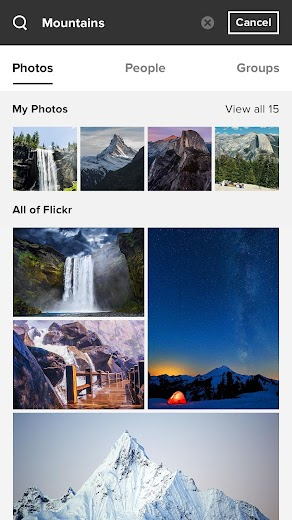 Screenshot 1 for Flickr's Android app'