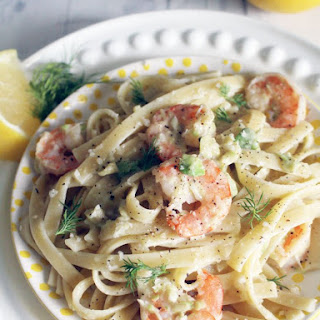 Shrimp Fettucine with Avocado Cashew Cream Sauce
