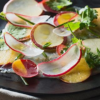 Halibut Carpaccio with Nectarines, Radish and Lime
