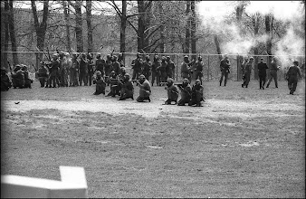 Photo: Troop G kneels and aims from the practice football field, minutes before they retreat and march back up Blanket Hill and shoot back downhill.