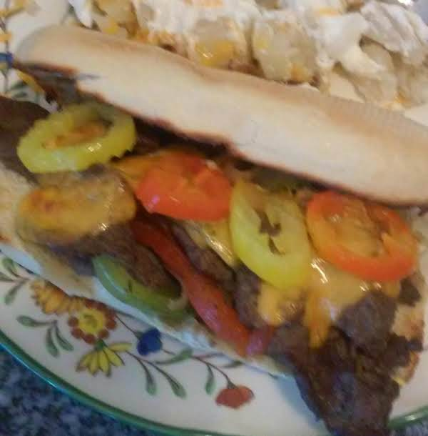 Beef, Peppers And Onions Sandwich