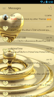 SMS Messages Heart Gold Theme - náhled