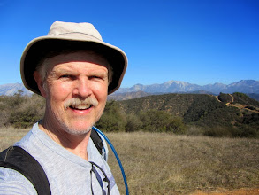 Photo: Yours truly on Glendora Peak with Iron Mt (8007') just to the right of my brim. I leave the summit at 12:35.