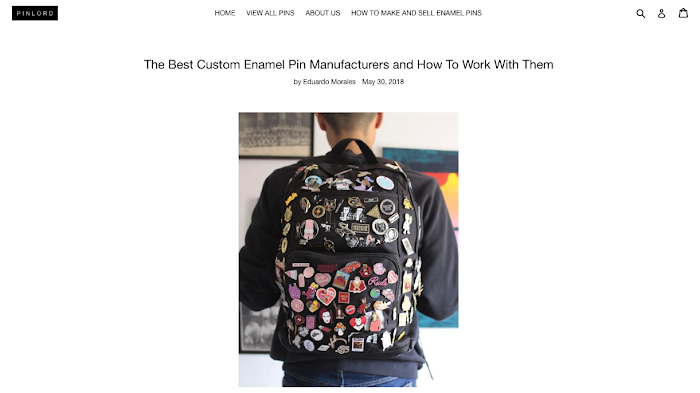 A blog post written by ecommerce store Pinlord about how to work with enamel pin manufacturers.