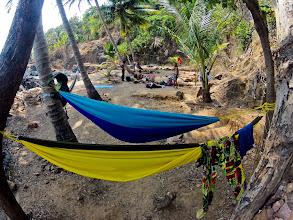 Photo: hammocks, paradise beach - mosquito free! :))