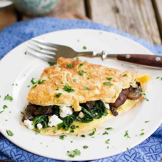 Kale, Goat Cheese & Mushroom Omelet