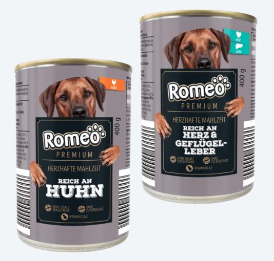 Romeo Hundefutter von Aldi Sorte Reich an Huhn und Herz mit Geflügelleber