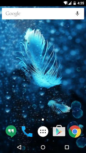 白色羽毛之水晶藍氣泡動態桌布